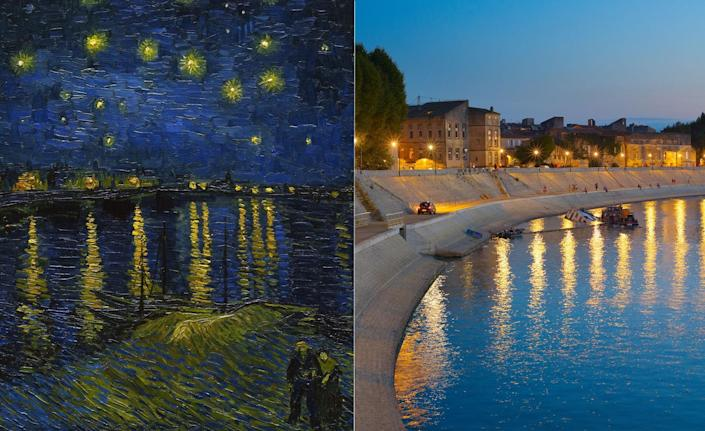 """Art lovers can deduce that the location Van Gogh painted in his iconic <em>Starry Night Over the Rhône</em> (1888) was one he visited often, as it was roughly 500 feet from the Yellow House, the artist's home during his stint in Arles. The painting was done during a productive burst for the artist, mere months before a mental breakdown that culminated in his ear being cut off and his entrance to a mental asylum in St. Remy, France. Before that, however, Vincent summed up his famous painting in a letter to his younger brother, Theo: """"In short the starry sky painted by night, actually under a gas jet. The sky is aquamarine, the water is royal blue, the ground is mauve. The town is blue and purple. The gas is yellow and the reflections are russet gold descending down to green-bronze. On the aquamarine field of the sky the Great Bear is a sparkling green and pink, whose discreet paleness contrasts with the brutal gold of the gas. Two colorful figurines of lovers in the foreground."""""""