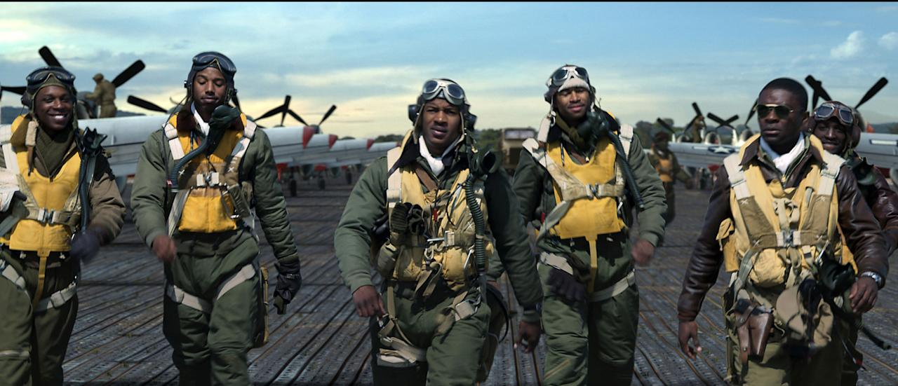"In this image released by 20th Century Fox, from left, David Oyelowo, Elijah Kelley, Leslie Odom Jr., Michael B. Jordan, Nate Parker and Kevin Phillips are shown in a scene from the film, ""Red Tails."" (AP Photo/20th Century Fox)"