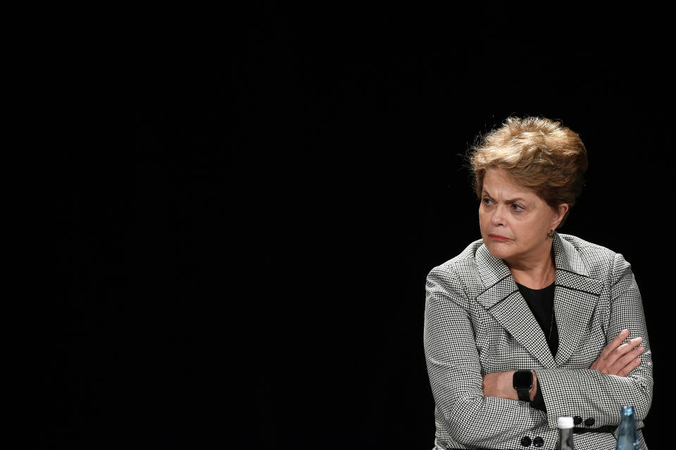 PARIS, FRANCE - MARCH 02: Former Brazilian President Dilma Rousseff looks on during a Anne Hidalgo meeting on March 02, 2020 in Paris, France. Anne Hidalgo is running for a second term as Paris mayor. (Photo by Aurelien Meunier/Getty Images)