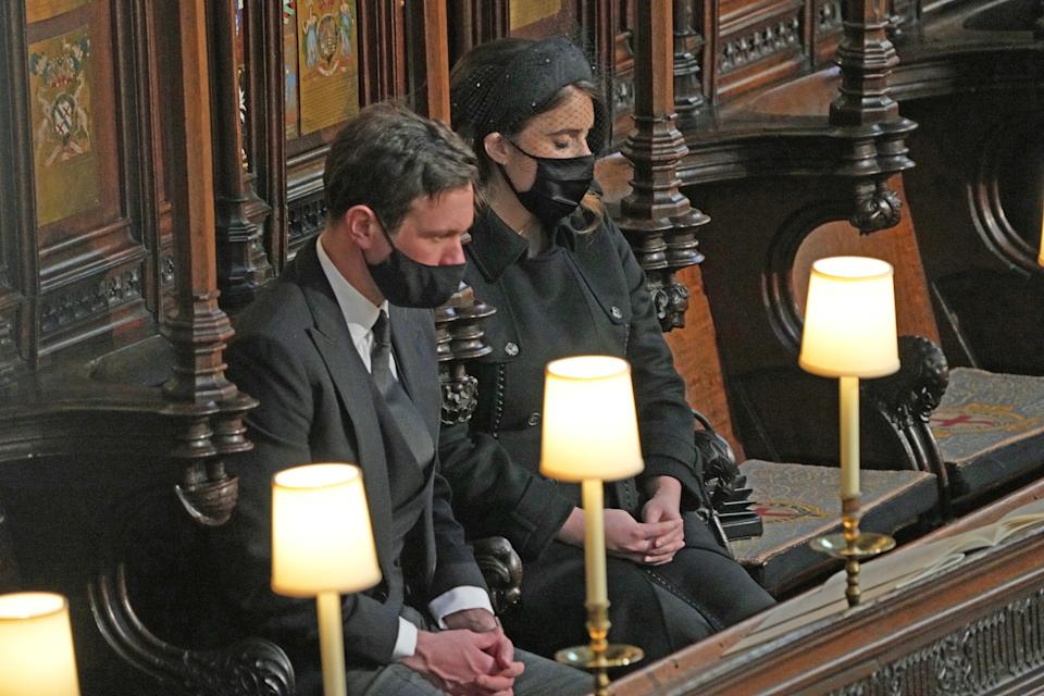 Jack Brooksbank and Princess Eugenie during the funeral of the Duke of Edinburgh in St George's Chapel, Windsor Castle, Berkshire. Picture date: Saturday April 17, 2021.
