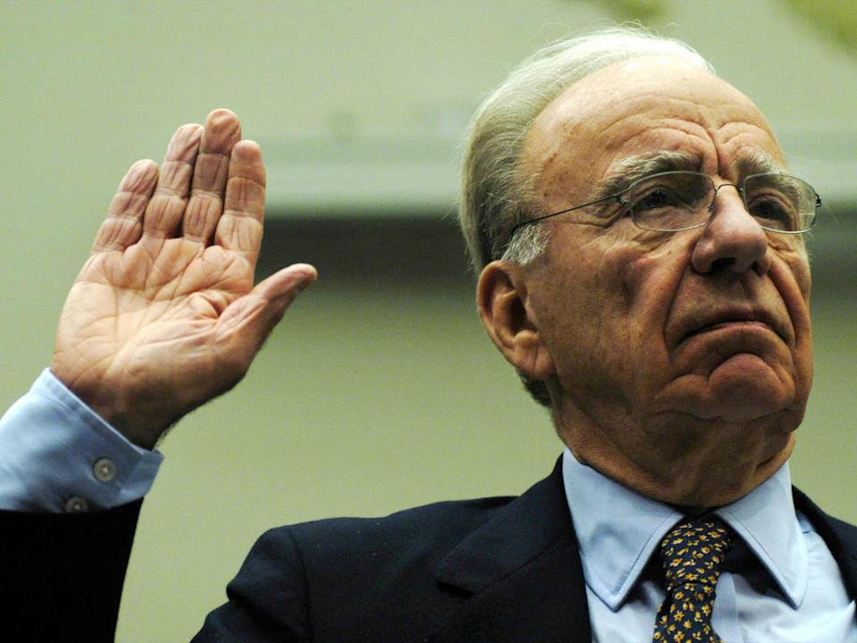 Rupert Murdoch, is sworn in before testimony to the House Committee on the Judiciary on Capitol Hill in Washington (Reuters)