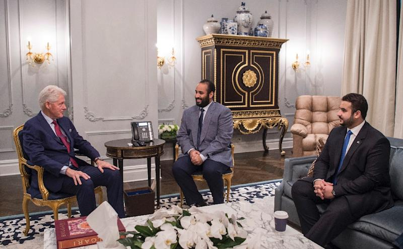 The prince met with former president Bill Clinton in New York on March 29 (AFP Photo/BANDAR AL-JALOUD)