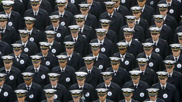 PHOTO: In this Dec. 14, 2019 file photo, Navy midshipmen march onto field ahead of an NCAA college football game between the Army and the Navy in Philadelphia. (Matt Rourke/AP, File)