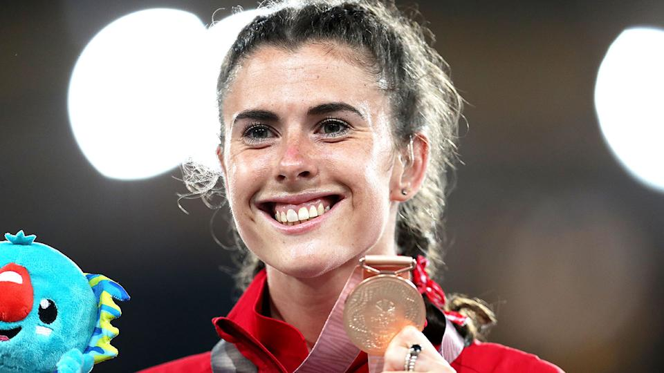 Pictured here, Olivia Breen with her bronze medal from the 2018 Commonwealth Games.