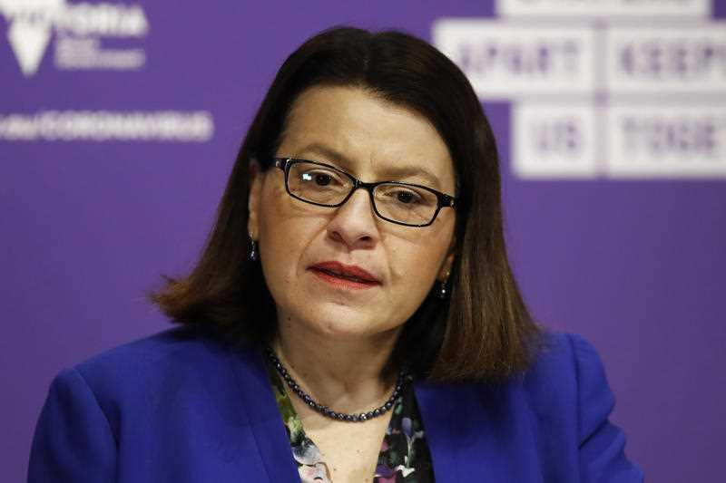 Health Minister Jenny Mikakos speaks to the media during a press conference in Melbourne.