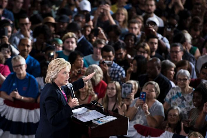 Hillary Clinton speaks during a voter registration rally at the University of South Florida, Sept. 6, 2016, in Tampa.