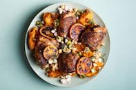 "A topping of olives and feta is a salty, bright complement to the caramelized oranges and roasted sweet potatoes in this flavor-packed chicken dinner. If you're keeping the meal dairy-free, skip the cheese. <a href=""https://www.epicurious.com/recipes/food/views/charred-chicken-with-sweet-potatoes-and-oranges?mbid=synd_yahoo_rss"" rel=""nofollow noopener"" target=""_blank"" data-ylk=""slk:See recipe."" class=""link rapid-noclick-resp"">See recipe.</a>"