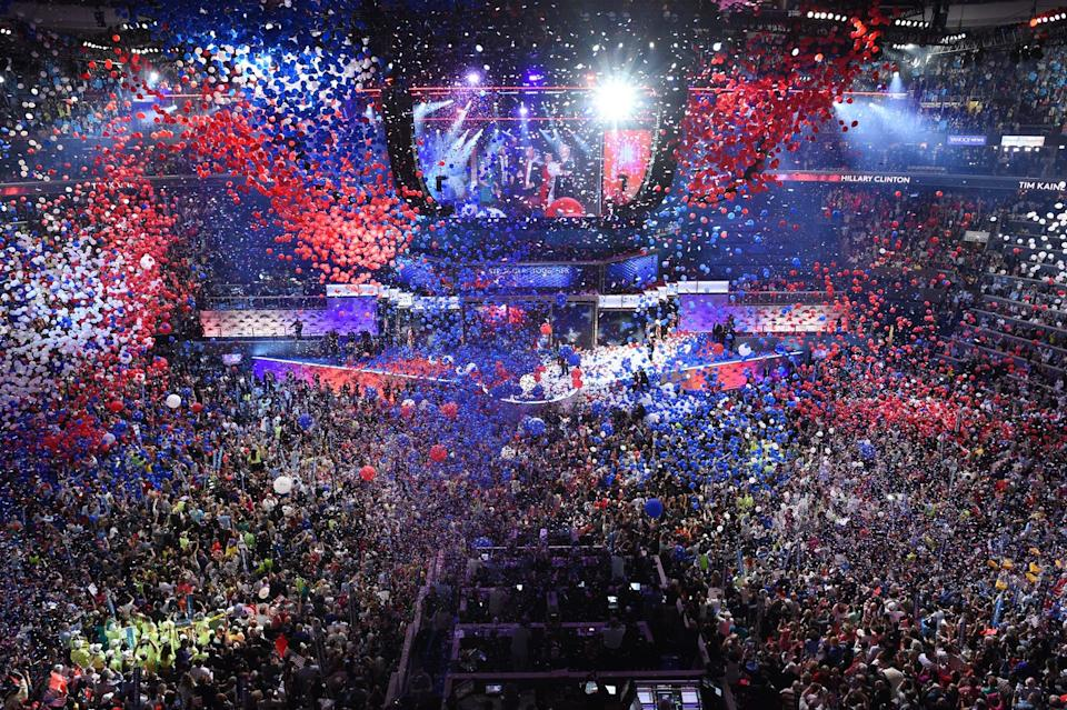 The Democratic Convention celebrates after Hillary Clinton accepted the presidential nomination July 28, 2016.