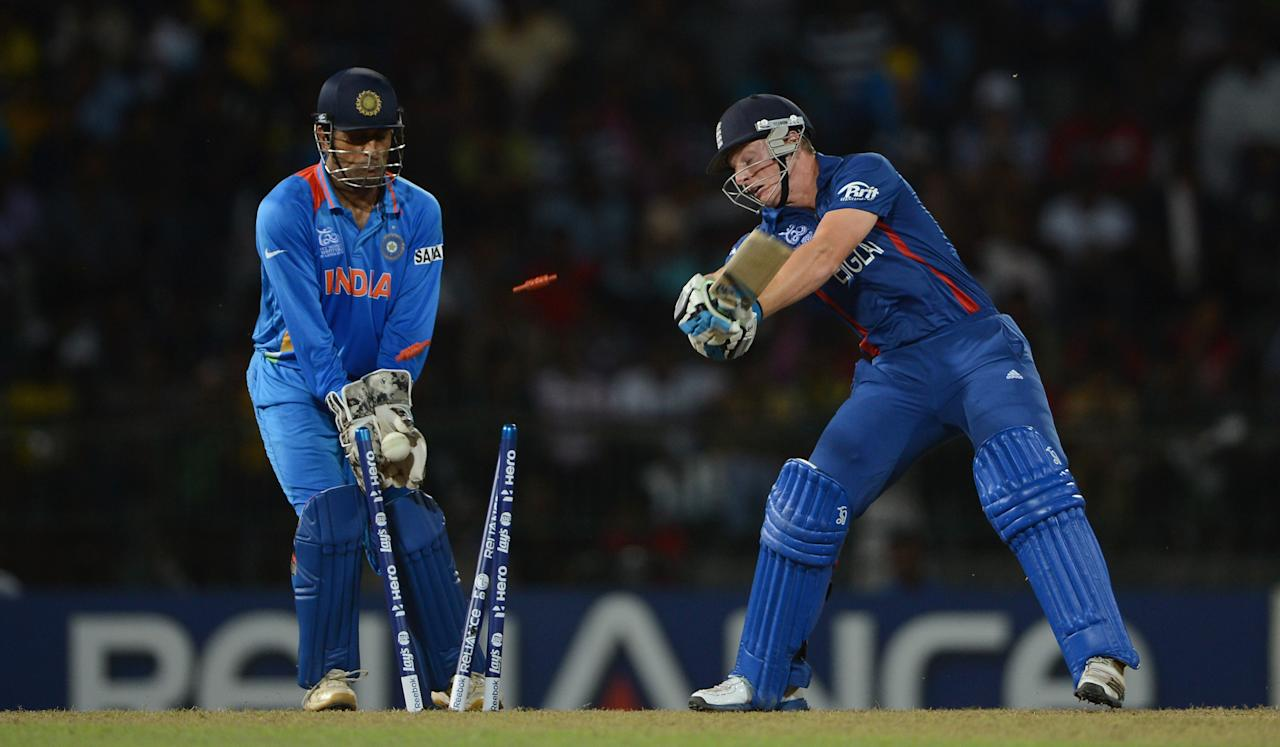 COLOMBO, SRI LANKA - SEPTEMBER 23:  Jos Buttler of England is bowled Harbhajan Singh of India during the  ICC World Twenty20 2012 Group A match between England and India at R. Premadasa Stadium on September 23, 2012 in Colombo, Sri Lanka.  (Photo by Gareth Copley/Getty Images)