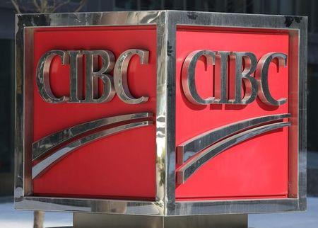 The CIBC logo is seen outside their Bay Street headquarters in Toronto