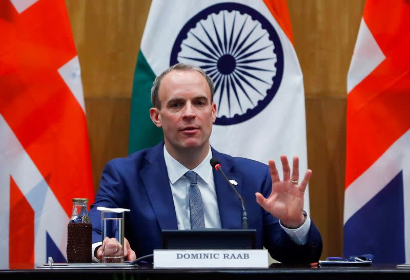 Britain's Foreign Secretary Raab and his Indian counterpart Jaishankar hold news conference in New Delhi