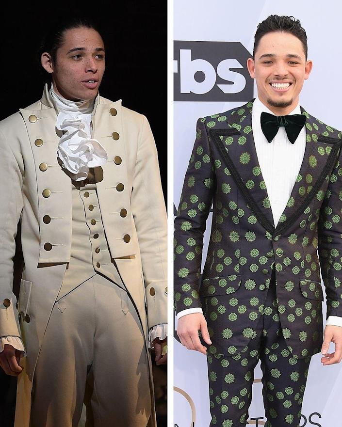 """<p>Ramos is also an <em>In the Heights </em>alum, alongside his two <em>Hamilton</em> roles. Since his Broadway days, Ramos appeared in Spike Lee's Netflix adaptation of <em>She's Gotta Have It </em>and <a href=""""https://www.townandcountrymag.com/leisure/arts-and-culture/g25741153/a-star-is-born-movie-original-remake-versions-comparison/"""" rel=""""nofollow noopener"""" target=""""_blank"""" data-ylk=""""slk:played Ramon in the 2018 film, A Star Is Born"""" class=""""link rapid-noclick-resp"""">played Ramon in the 2018 film, <em>A Star Is Born</em></a>. Ramos played the lead in the film adaptation of <em>In the Heights</em>. The actor found more than fame during his <em>Hamilton </em>run—he's engaged to fellow cast member Jasmine Cephas Jones<em>.</em></p>"""