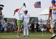 Jin Young Ko, center right, of South Korea, is doused by Gaby Lopez, center left, of Mexico, on the 18th green after winning the LPGA Volunteers of America Classic golf tournament in The Colony, Texas, Sunday, July 4, 2021. (AP Photo/Ray Carlin)