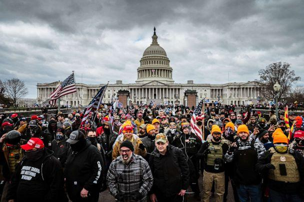 PHOTO: Pro-Trump protesters gather in front of the U.S. Capitol Building, Jan. 6, 2021, in Washington, D.C., before a mob stormed the Capitol, breaking windows and clashing with police officers, as congress gathered to certify the election of Joe Biden. (Jon Cherry/Getty Images)