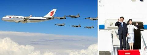 The Chinese president is often accompanied by the country's air force - Credit: Nova Wiffen