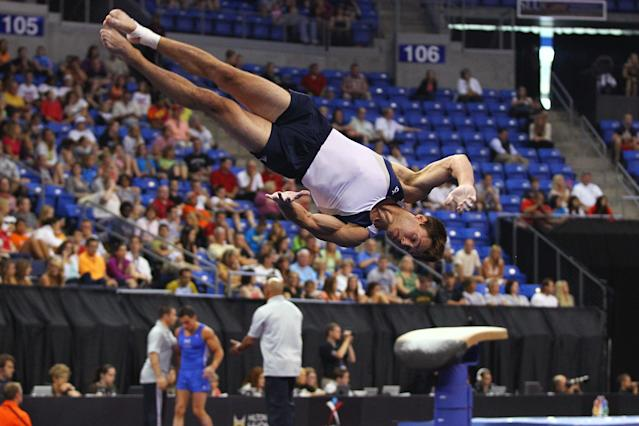 ST. LOUIS, MO - JUNE 9: R.J. Heflin competes in the floor event during the Senior Men's competition on Day Three of the Visa Championships at Chaifetz Arena on June 9, 2012 in St. Louis, Missouri. (Photo by Dilip Vishwanat/Getty Images)