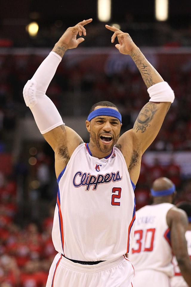 LOS ANGELES, CA - MAY 11:  Kenyon Martin #2 of the Los Angeles Clippers reacts after dunking the ball in the second quarter against the Memphis Grizzlies in Game Six of the Western Conference Quarterfinals in the 2012 NBA Playoffs on May 11, 2012 at Staples Center in Los Angeles, California.  NOTE TO USER: User expressly acknowledges and agrees that, by downloading and or using this photograph, User is consenting to the terms and conditions of the Getty Images License Agreement.  (Photo by Stephen Dunn/Getty Images)