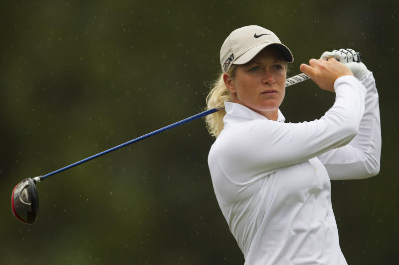 Suzann Pettersen of Norway competes during the first round of the HSBC LPGA Brazil Cup in Rio de Janeiro, Brazil, Saturday May 28, 2011. (AP Photo/Felipe Dana)