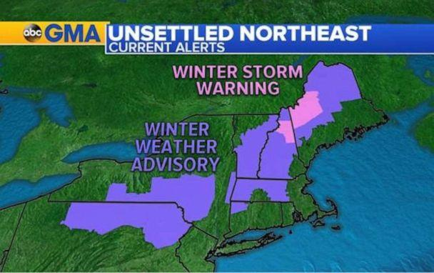 PHOTO: As the storm has moved into the northeast, precipitation is rain along the coast, but an icy mix just inland and snow for parts of the interior Northeast and New England. (ABC News)