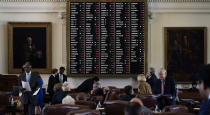 Votes are cast as the House votes on an amendment to election bill SB1, Thursday, Aug. 26, 2021, in Austin, Texas. (AP Photo/Eric Gay)