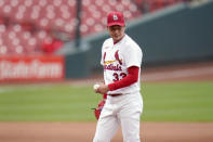St. Louis Cardinals starting pitcher Kwang-Hyun Kim pauses after giving up an RBI single to Pittsburgh Pirates' Jacob Stallings during the fourth inning in the first game of a baseball doubleheader Thursday, Aug. 27, 2020, in St. Louis. (AP Photo/Jeff Roberson)