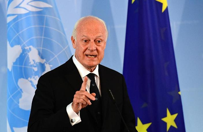 """UN special envoy for Syria Staffan de Mistura, pictured on July 22, 2016, said he could not verify reports of a deadly chemical attack in Aleppo but that there was """"a lot of evidence"""" it had happened (AFP Photo/Tobias Schwarz)"""