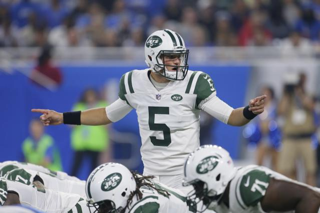"<a class=""link rapid-noclick-resp"" href=""/nfl/players/29284/"" data-ylk=""slk:Christian Hackenberg"">Christian Hackenberg</a> completed two passes in the first half of Saturday's preseason game against Detroit. (AP)"