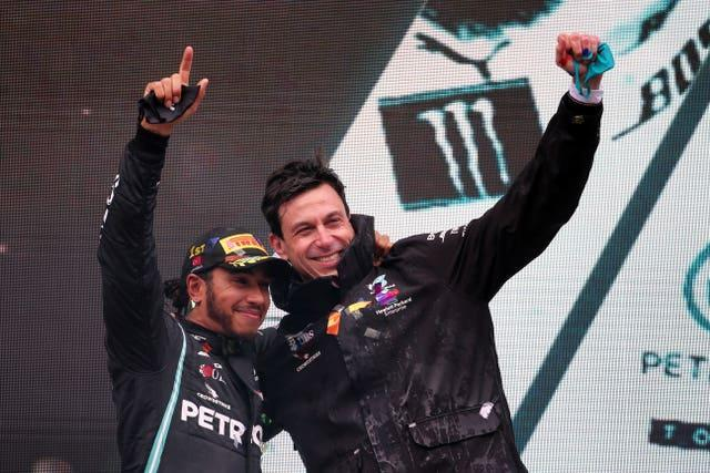 Toto Wolff with Lewis Hamilton