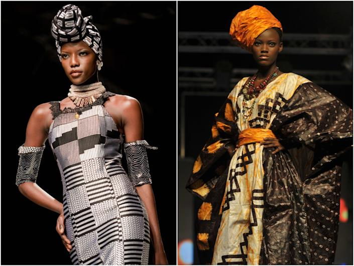 A look by Ghanaian designer Kofi Ansah, left, and one of Nigerian designer Alphadi's creations, right (Getty images )