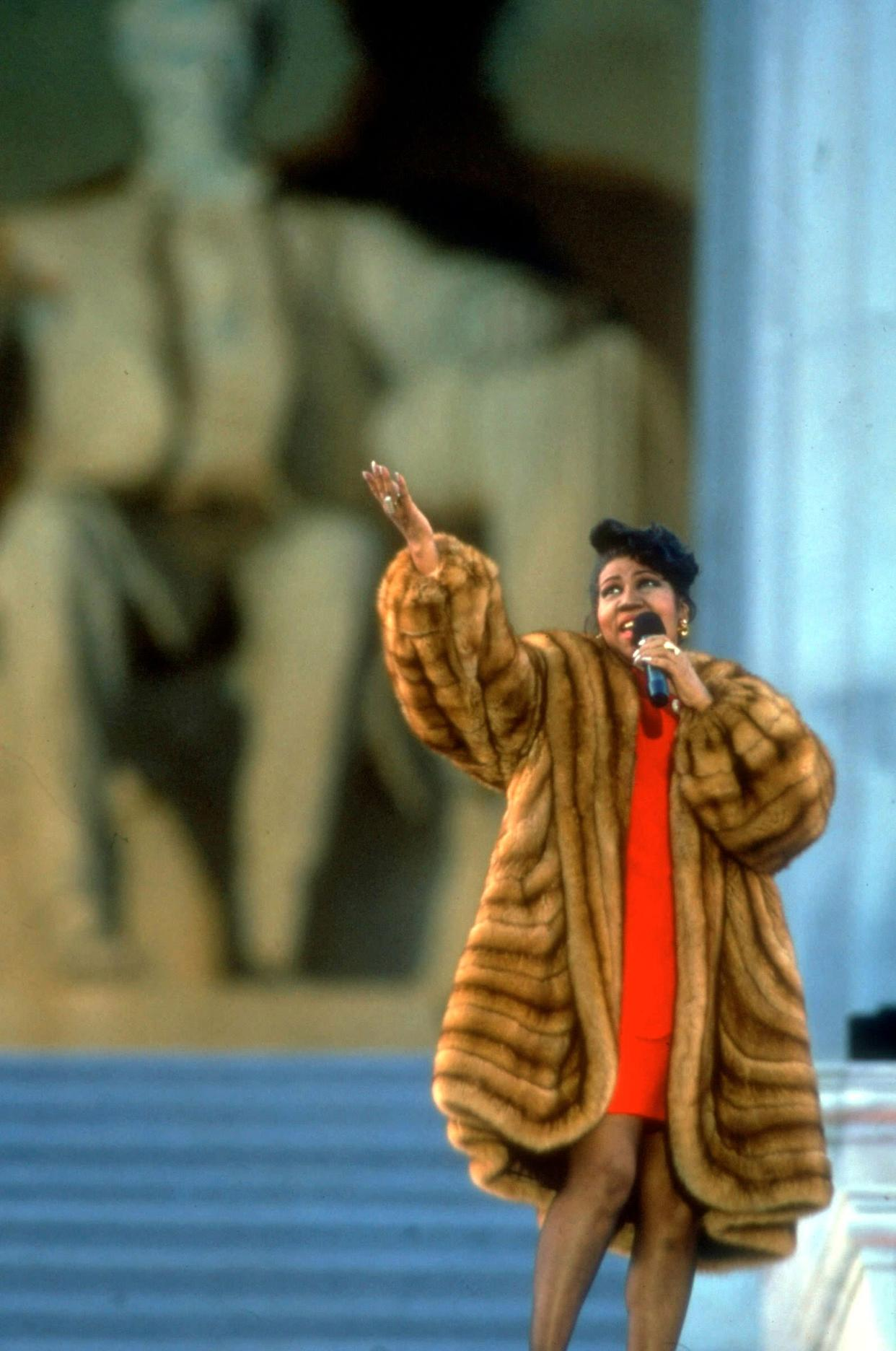 Singing outside the Lincoln Memorial in Washington, D.C., during President Bill Clinton's inauguration in 1993.