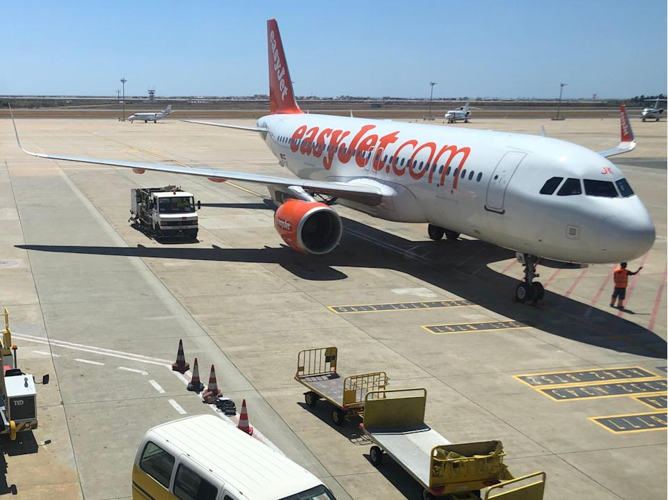 Sunny outlook: an easyJet Airbus A320 at Faro airport in Portugal (Simon Calder)