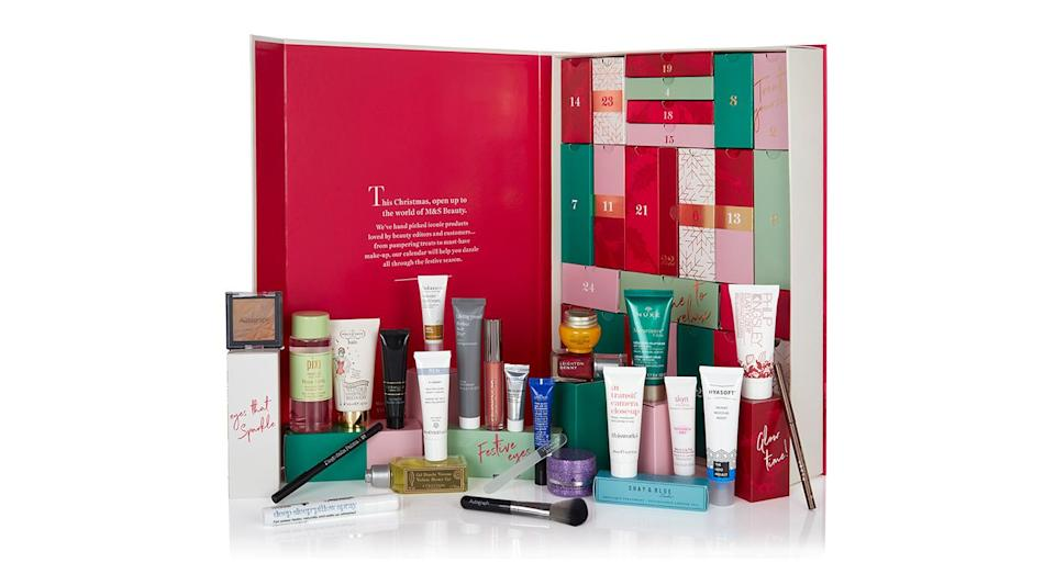"""<p>Marks and Spencer is famed for its annual advent calendar and this year, the high street chain has seriously delivered. Customers will receive £250 worth of products for just £70 – or £35 if you spend the rest of the cost in store. Available <a href=""""https://www.marksandspencer.com/c/beauty/beauty-advent-calendar?source=affwindow&extid=af_a_Uncategorised_78888_Skimlinks&comgp=78888&cvosrc=affiliate.aw.78888&awc=1402_1540302256_49616b59495f2c2b2d5dacf3b3e07342"""" rel=""""nofollow noopener"""" target=""""_blank"""" data-ylk=""""slk:nationwide"""" class=""""link rapid-noclick-resp"""">nationwide</a> from November 6. </p>"""