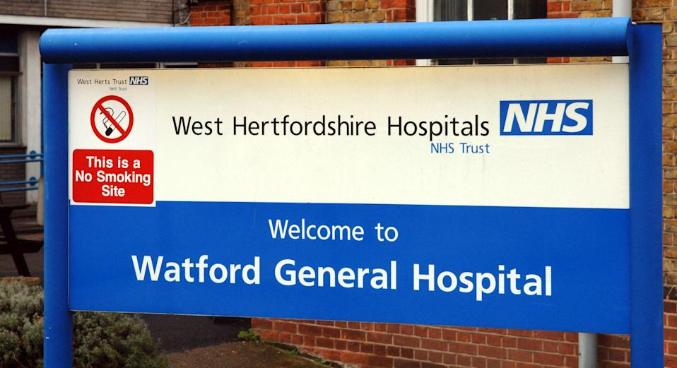 The sign outside Watford General Hospital in Watford, Hertfordshire.