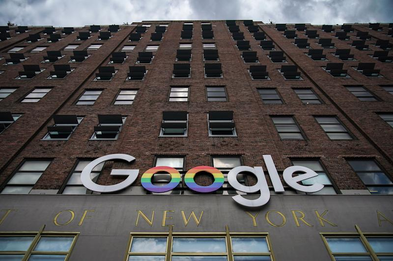 NEW YORK, NY - JUNE 3: The Google logo adorns the outside of their NYC office Google Building 8510 at 85 10th Ave on June 3, 2019 in New York City. Shares of Google parent company Alphabet were down over six percent on Monday, following news reports that the U.S. Department of Justice is preparing to launch an anti-trust investigation aimed at Google. (Photo by Drew Angerer/Getty Images)