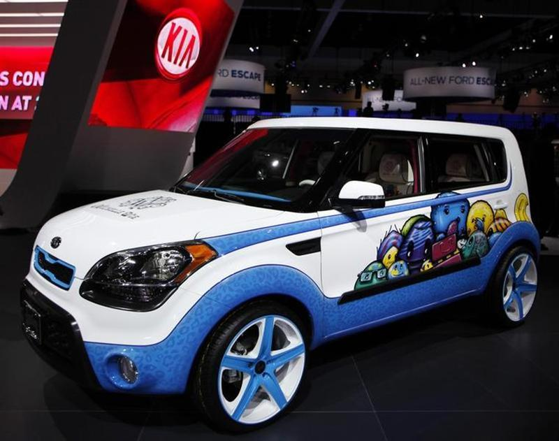 A 2012 Kia Soul, whose design is inspired with ideas from LPGA golfer Michelle Wie, is seen at the LA Auto Show in Los Angeles