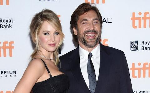 Stars Jennifer Lawrence and Javier Bardem at the film's Toronto premiere - Credit: Evan Agostini/Invision/AP
