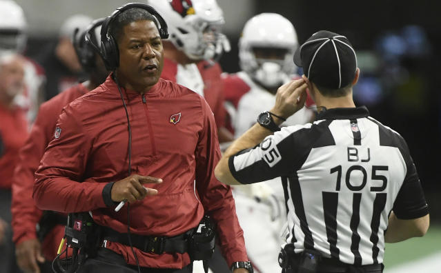"The Browns hired former Cardinals head coach Steve Wilks as their new defensive coordinator and former <a class=""link rapid-noclick-resp"" href=""/nfl/teams/tampa-bay/"" data-ylk=""slk:Buccaneers"">Buccaneers</a> offensive coordinator Todd Monken as their new offensive coordinator on Sunday. (AP/John Amis)"