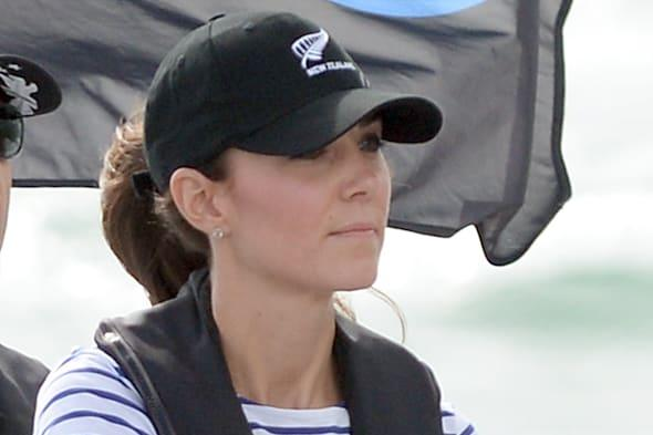 The Duchess of Cambridge steers a yacht as the Duke and Duchess of Cambridge race against each other on two Emirates Team New Zealand Americas Cup yachts as they sail around Auckland Harbour during the fifth day of their official tour to New Zealand. PRESS ASSOCIATION Photo. Picture date: Friday April 11, 2014. Photo credit should read: Anthony Devlin/PA Wire