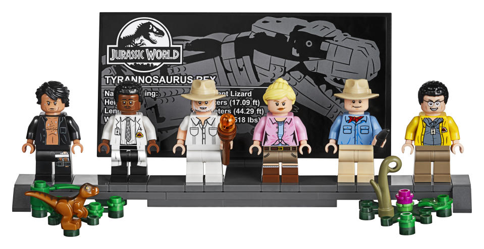 The set also comes with a Minifigure display stand complete with a T. rex fact sheet.