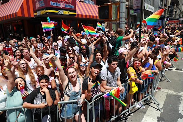 <p>Revelers cheer during the N.Y.C. Pride Parade in New York on June 25, 2017. (Photo: Gordon Donovan/Yahoo News) </p>
