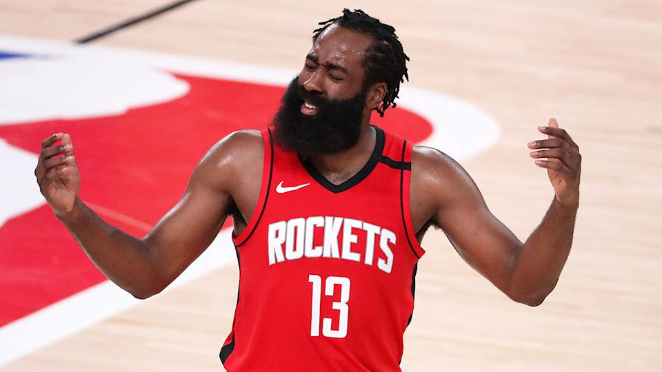 James Harden is seen here during an NBA game with the Houston Rockets.