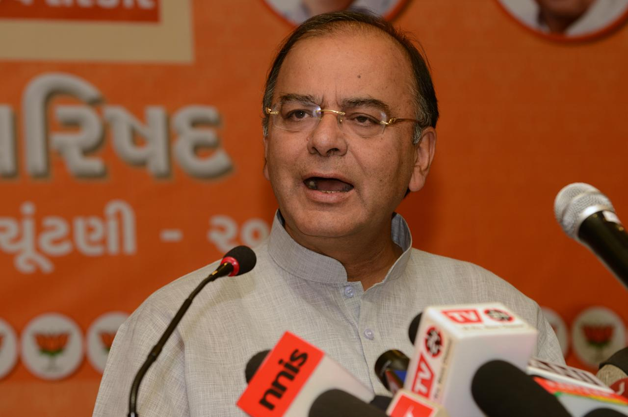 Senior Indian Bharatiya Janata Party (BJP) leader Arun Jaitley addressing a press conference in Ahmedabad on December 8, 2012. Gujarat state goes to polls in two phases, on December 13 and 17, 2012. AFP PHOTO / Sam PANTHAKY        (Photo credit should read SAM PANTHAKY/AFP/Getty Images)
