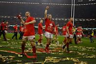 Wales secured their third Six Nations Grand Slam under Warren Gatland with a thumping 25-7 victory over a well-beaten and out-classed Ireland (AFP Photo/GEOFF CADDICK)
