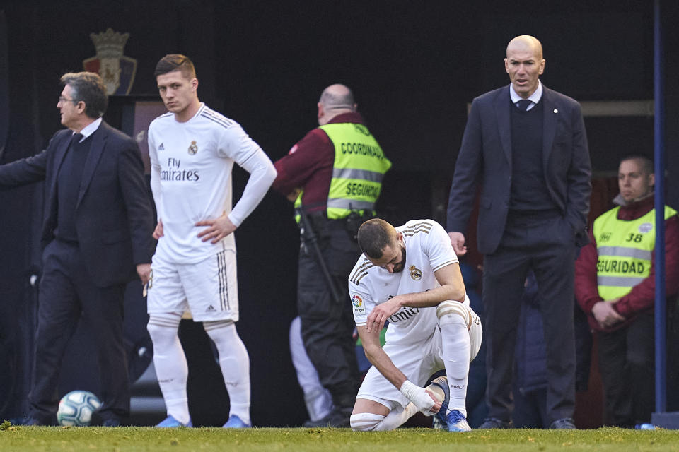 PAMPLONA, SPAIN - FEBRUARY 09: Luka Jovic of Real Madrid CF looks on  during the Liga match between CA Osasuna and Real Madrid CF at El Sadar Stadium on February 09, 2020 in Pamplona, Spain. (Photo by Diego Souto/Quality Sport Images/Getty Images)