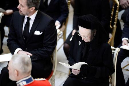Queen Margrethe and Crown Prince Frederik of Denmark at the funeral service of Prince Henrik at Christiansborg Palace Chapel in Copenhagen, Denmark February 20, 2018.  Mads Claus Rasmussen/Ritzau Scanpix Denmark/via REUTERS