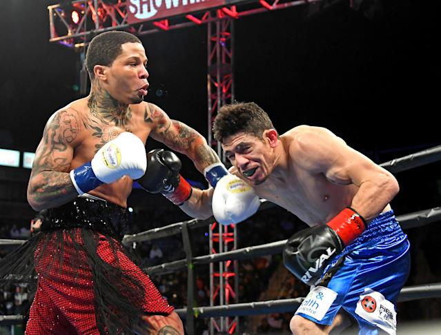 Gervonta Davis (L) and Hugo Ruiz exchange punches during their WBA super featherweight championship fight at StubHub Center on Feb. 9, 2019 in Carson, California. (Getty Images)