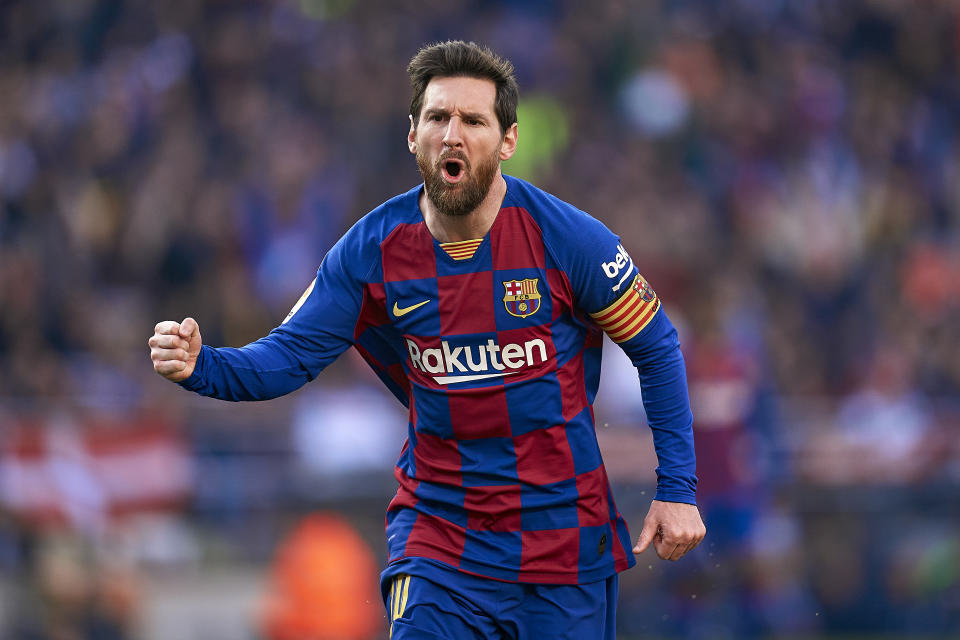 Lionel Messi Registers First Half Hat Trick Scores Four Goals In Barcelona Rout Video