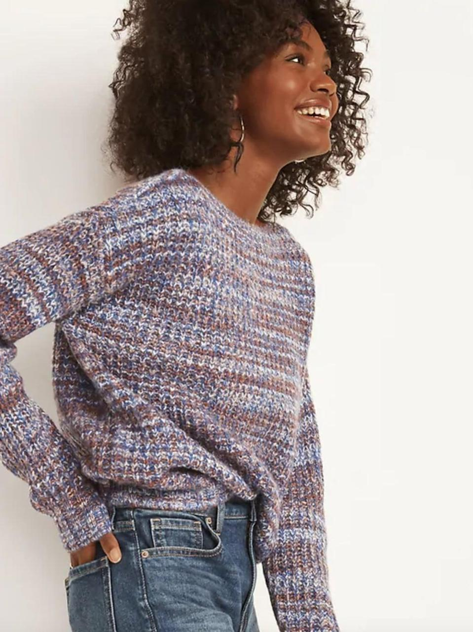 <p>We love the design of this <span>Old Navy Slouchy Space-Dye Boat-Neck Sweater </span> ($37).</p>