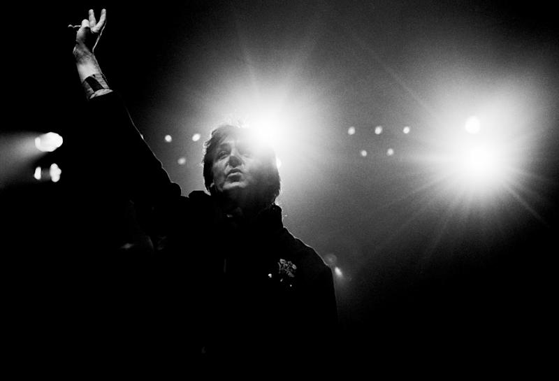Paul McCartney performs on stage on the Paul McCartney World Tour at Ahoy in Rotterdam, Netherlands on November 11th 1989.
