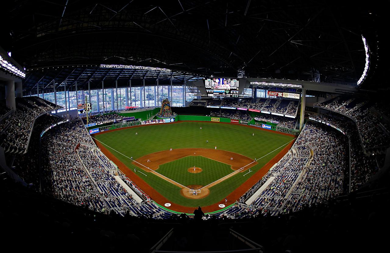 MIAMI, FL - APRIL 01: A general view of the new Miami Marlins Park during a preseason game against the New York Yankees during a game at Marlins Park on April 1, 2012 in Miami, Florida. (Photo by Mike Ehrmann/Getty Images)